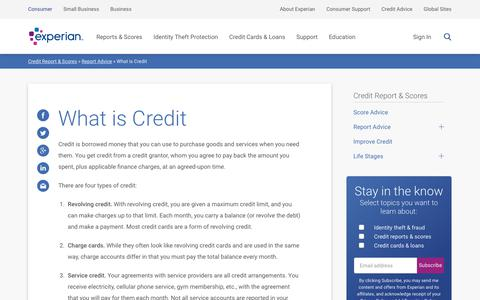 Screenshot of FAQ Page experian.com - What is Credit   Experian - captured May 15, 2018