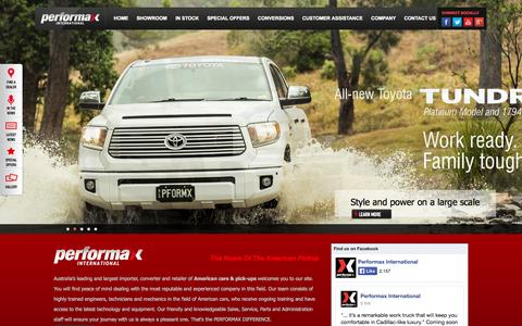 Screenshot of Home Page performaxint.com.au - American Cars & Pick-ups, Sales, Imports & Conversions - Australia - captured Jan. 23, 2015