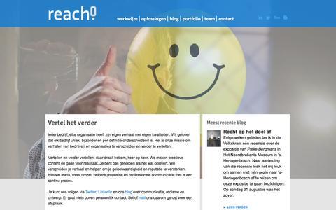 Screenshot of Home Page reach-scv.nl - Reach! | Home - captured Oct. 7, 2014