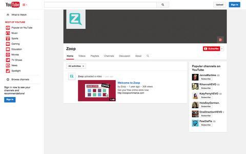 Screenshot of YouTube Page youtube.com - Zoop  - YouTube - captured Nov. 3, 2014