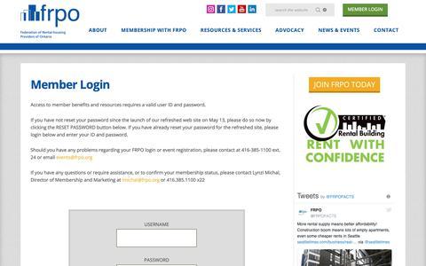 Screenshot of Login Page frpo.org - Member Login | FRPO - Federation of Rental-Housing Providers of Ontario - captured Oct. 10, 2018