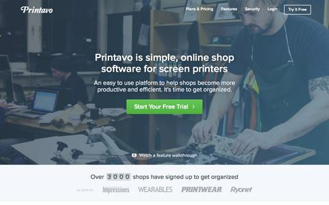 Screenshot of Home Page printavo.com - Printavo | Simple screen printing software to help manage your shop. Shop management software in the cloud. - captured July 24, 2015