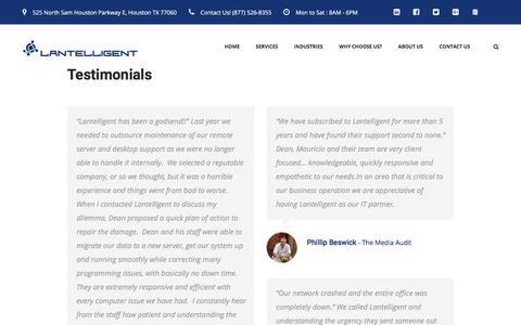 Screenshot of Testimonials Page lantelligent.net - See why Houston trust Lantelligent - captured July 16, 2018