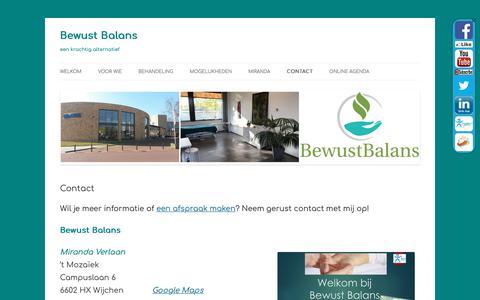 Screenshot of Contact Page bewustbalans.info - Contact - Bewust Balans - captured Nov. 6, 2018