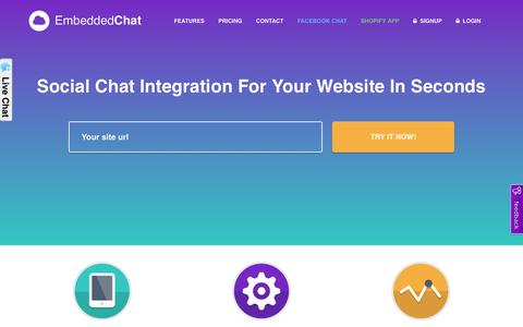 Screenshot of Home Page embedded-chat.com - Social Embedded Chat Widget | Integration on your Website in Seconds - captured July 4, 2016