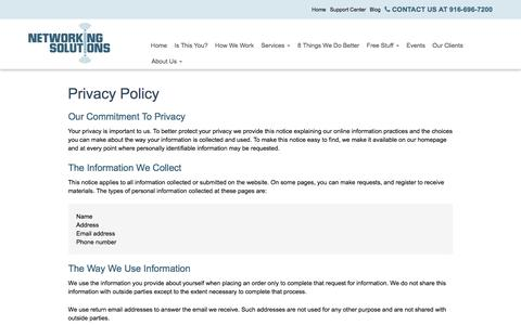 Screenshot of Privacy Page networkingsolutions.net - Privacy Policy - Sacramento, Folsom, Roseville | Networking Solutions - captured Feb. 25, 2016