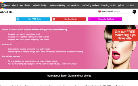 Screenshot of About Page salonguru.net - About Salon Guru - the team, awards and many clients - captured Oct. 2, 2018