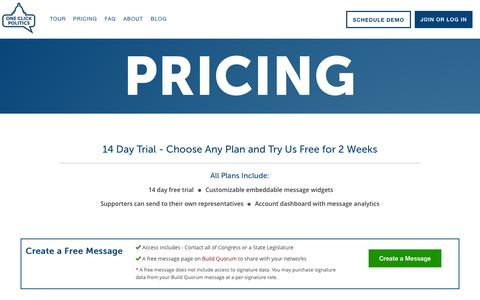Screenshot of Pricing Page oneclickpolitics.com - One Click Politics - Advocate, Build your Base, or Raise Money. - captured Sept. 30, 2015