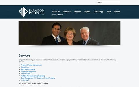 Screenshot of Services Page paragon-partners.com - Services  |  Paragon Partners Ltd – A leading Right of Way & Real Estate Consultant - captured May 14, 2017