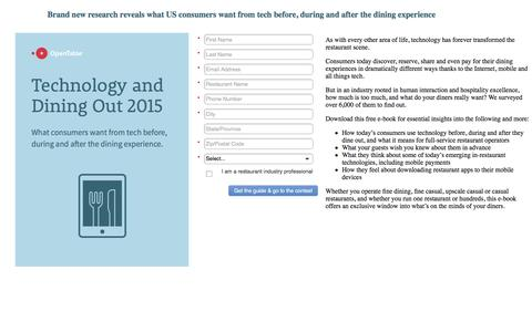Screenshot of Landing Page opentable.com captured Dec. 31, 2016