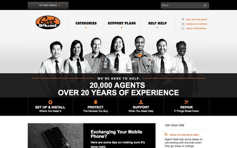 Screenshot of Home Page geeksquad.com - Geek Squad - Setup, Install, Protect, Support & Repair - captured Oct. 5, 2015