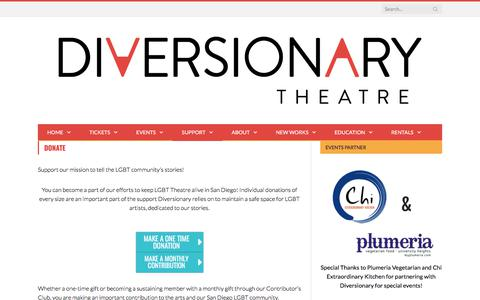 Screenshot of Support Page diversionary.org - Diversionary Theatre : The Third Oldest LGBT Theatre in the Country - captured Oct. 12, 2017