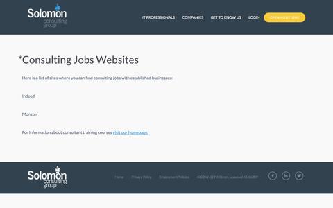 Screenshot of Jobs Page solomonbi.com - *Consulting Jobs Websites | solomonbi - captured Sept. 16, 2019