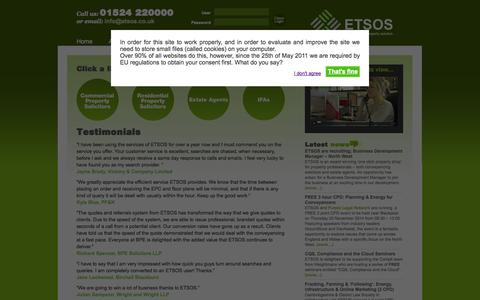 Screenshot of Testimonials Page etsos.co.uk - ETSOS The Complete Property Solution - captured Sept. 30, 2014
