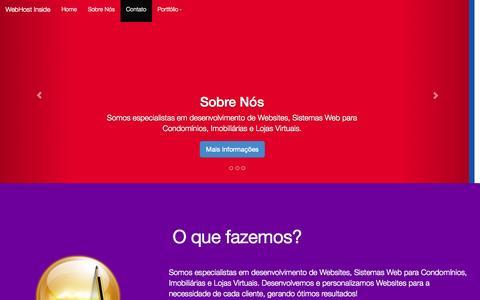Screenshot of Home Page webhostinside.com - WebHost Inside   Desenvolvimento Web - Sites, Portais, Lojas Virtuais - captured Oct. 9, 2014