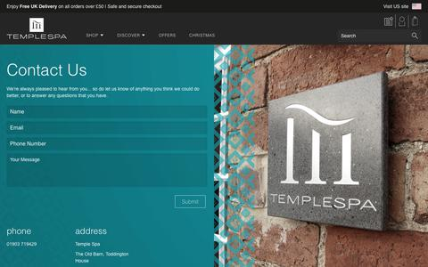 Screenshot of Contact Page templespa.com - Contact Us | Temple Spa - captured Oct. 21, 2017