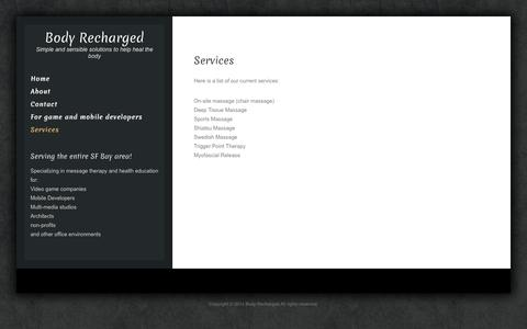 Screenshot of Services Page bodyrecharged.com - Services | Body Recharged - captured Sept. 30, 2014
