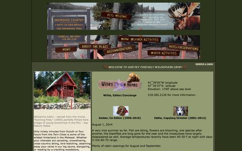 Screenshot of Home Page snowshoecountry.com - Snowshoe Country Lodge - captured Oct. 1, 2014