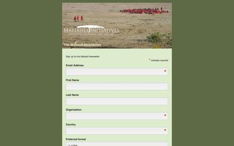 Screenshot of Signup Page maliasili.org - Maliasili Newsletter - captured Oct. 4, 2014
