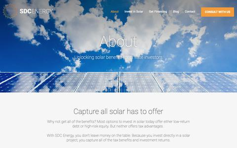 Screenshot of About Page sdc-energy.com - Solar investing │ save on taxes │ tax-efficient invetment strategy - captured Oct. 2, 2018