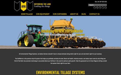 Screenshot of Home Page soilwarrior.com - Environmental Tillage Systems - - captured Sept. 18, 2015