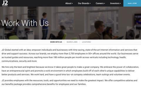 Screenshot of Jobs Page j2global.com - Careers - J2 Global - captured July 19, 2019