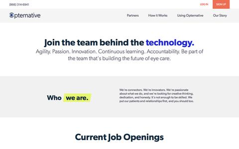 Screenshot of Jobs Page opternative.com - Careers | Opternative - captured April 1, 2018