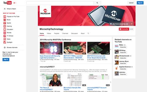 Screenshot of YouTube Page youtube.com - MicrochipTechnology  - YouTube - captured Oct. 22, 2014