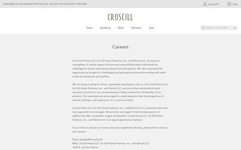 Screenshot of Jobs Page croscill.com - Careers                        | Croscill Home - captured Nov. 5, 2018