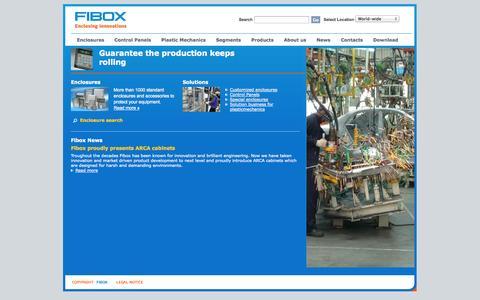 Screenshot of Home Page fibox.com - Fibox com   Fibox enclosures - captured Oct. 5, 2014