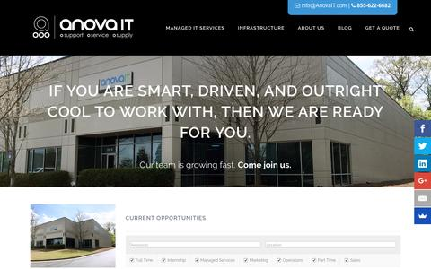 Screenshot of Jobs Page anovait.com - Anova IT | About Us | Intelligent Technology and Talent - captured May 30, 2017