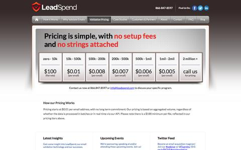 Screenshot of Pricing Page leadspend.com - Email Validation Pricing - captured June 16, 2015