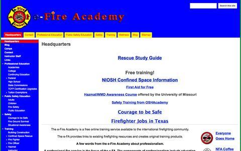 Screenshot of Home Page efireacademy.com - e-Fire Academy - captured Sept. 30, 2014