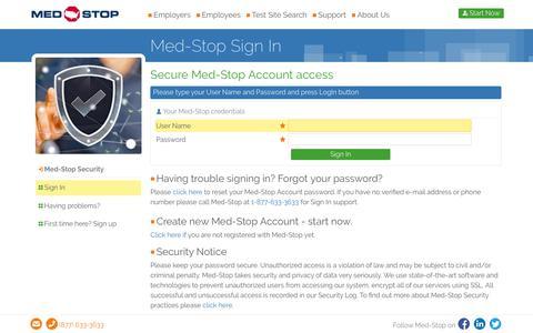 Screenshot of Login Page med-stop.com - Sign In | Med-Stop - captured Oct. 18, 2017