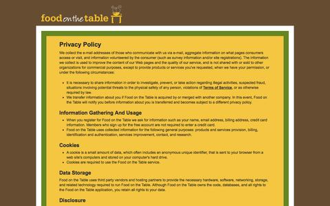 Screenshot of Privacy Page foodonthetable.com captured Sept. 16, 2014