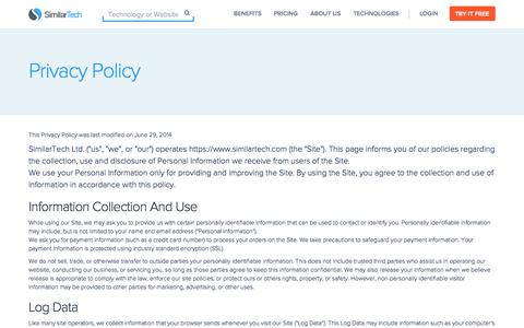 Screenshot of Privacy Page similartech.com - Privacy Policy - captured Sept. 23, 2014