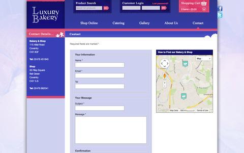Screenshot of Contact Page luxurybakery.com - Contact   Luxury Bakery - captured Sept. 30, 2014