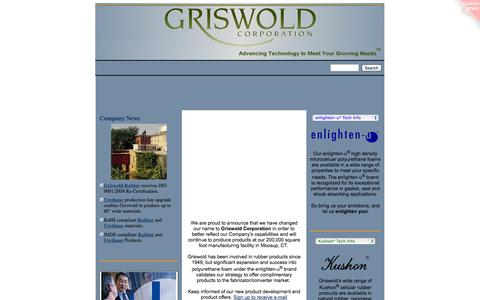 Screenshot of Home Page griswoldcorp.com - Griswold Corporation - Sponge Rubber and Urethane Foam - captured Sept. 30, 2014