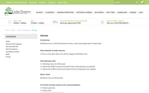 Screenshot of Pricing Page landscaping.co.uk - Plants :: Plant Consultancy :: Pricing - captured July 18, 2017