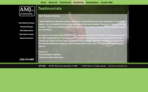 Screenshot of Testimonials Page amjinc.com - Testimonials | AMJ Inc. of Gainesville - captured Oct. 4, 2014