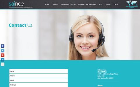 Screenshot of Contact Page saince.com - Contact – saince.com - captured May 5, 2016