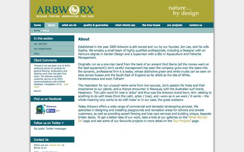 Screenshot of About Page arbworx.com - About » 	Arbworx - captured Oct. 4, 2014