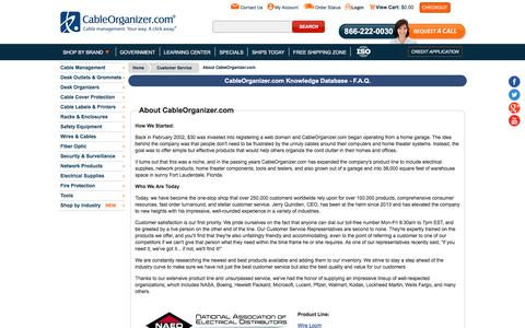 Screenshot of About Page cableorganizer.com - CableOrganizer.com FAQs - How Our Company Got Started - captured May 9, 2017