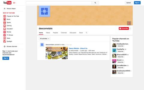 Screenshot of YouTube Page youtube.com - deecometals  - YouTube - captured Oct. 23, 2014