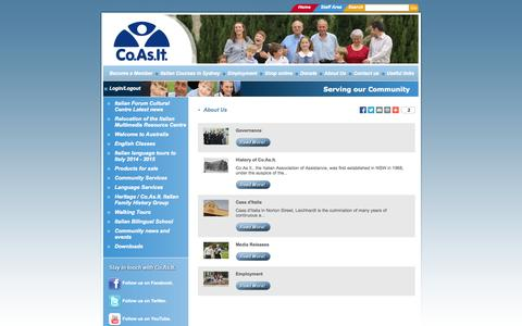 Screenshot of About Page coasit.org.au - Co.As.It. Sydney Italian Language & Community Services - captured Sept. 30, 2014