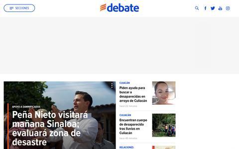 Screenshot of Home Page debate.com.mx - EL DEBATE | Noticias de México - captured Sept. 21, 2018