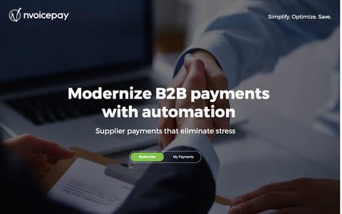 Screenshot of Landing Page nvoicepay.com - Modernize B2B Payments with Automation - captured May 8, 2017