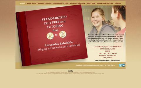 Screenshot of Home Page atoztutor.com - Alexandra Zabriskie: A to Z Tutor - New York, NY - www.atoztutor.com - captured Sept. 30, 2014
