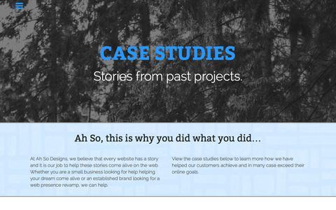 Screenshot of Case Studies Page ahsodesigns.com - Web Development Case Studies - captured Dec. 24, 2015