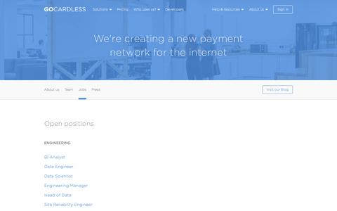 Screenshot of Jobs Page gocardless.com - Jobs - GoCardless - captured April 7, 2017